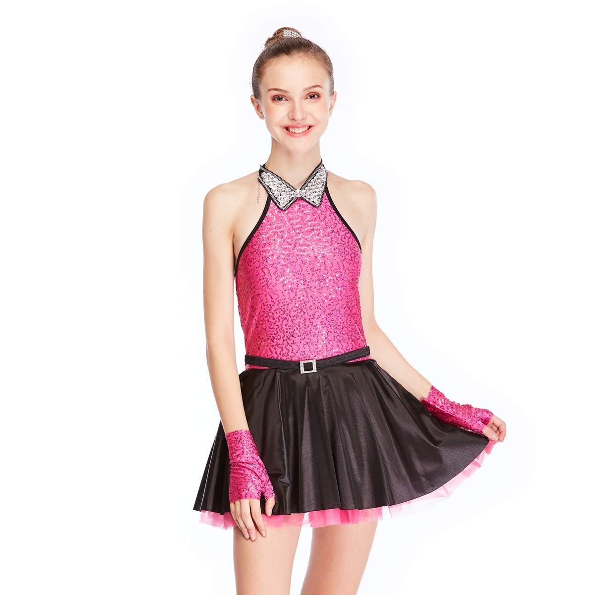 MiDee Jazz Dress Dance Costume High Neck with Sparkle Austria Rhinestones Collar (LC, HotPink) by MiDee