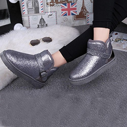 Fashion Boots Clode® Lined Snow Boots Fashion Fur Ankle Flat Booties Women Warm Winter Slipper Sequin Gray Womens wE5HqxXvq
