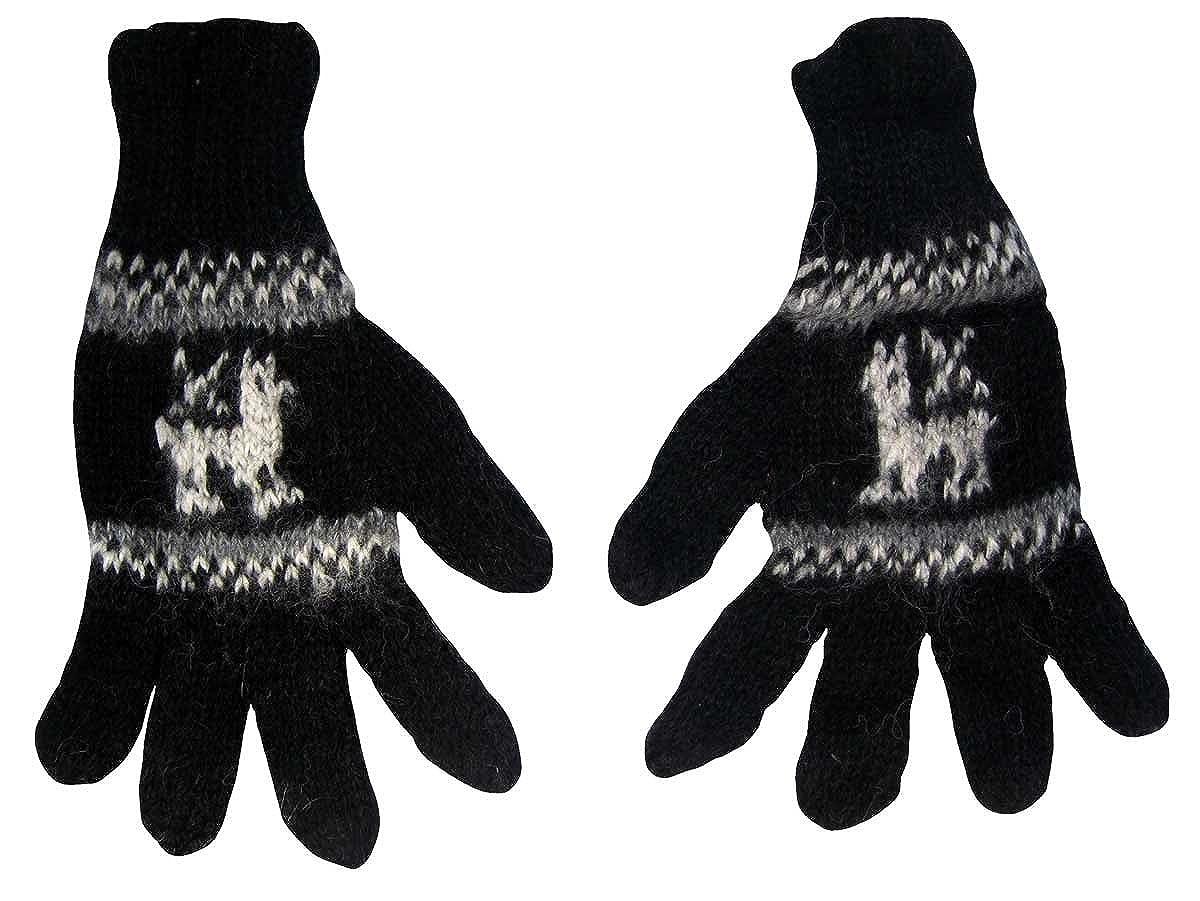 Alpaca Gloves with Llama Design, Hand Knit