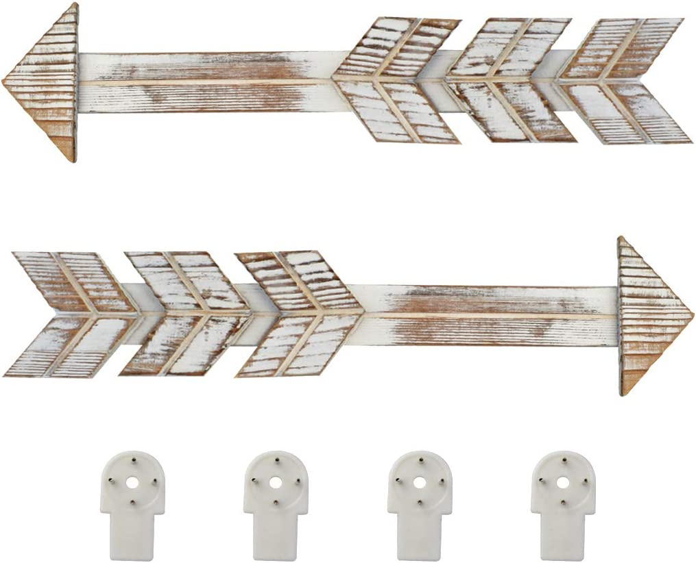 2 Packs Rustic Wood Arrow Decors, Fengek 16.34 x 3.74 Inch Farmhouse Home Arrow Sign Wall Decor