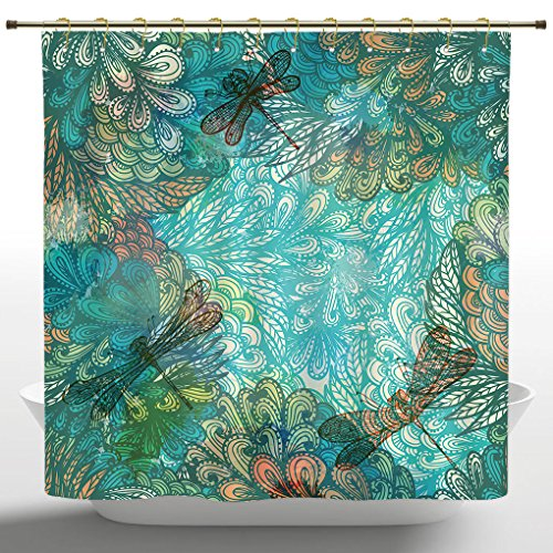 Upscale Shower Curtain by iPrint,Dragonfly,Fantasy Flowers Mixed in Various Tones Shabby Chic Feminine Beauty Print,Turquoise Amber,Bathroom Accessories,with Hooks,72W X 72L ()