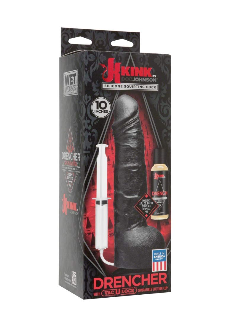 KINK By Doc Johnson Wet Works Drencher - Silicone Squirting Cock - With Removable Vac-U-Lock Suction Cup Base - Harness and F-Machine Compatible - Black by Doc Johnson (Image #2)