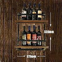 JJZSJ Loft Retro Hierro Madera Maciza Vino Tinto Estantería Simple Creativo Murales Objetos Colgantes Bares Bar Bar Bar Vino Cabinet