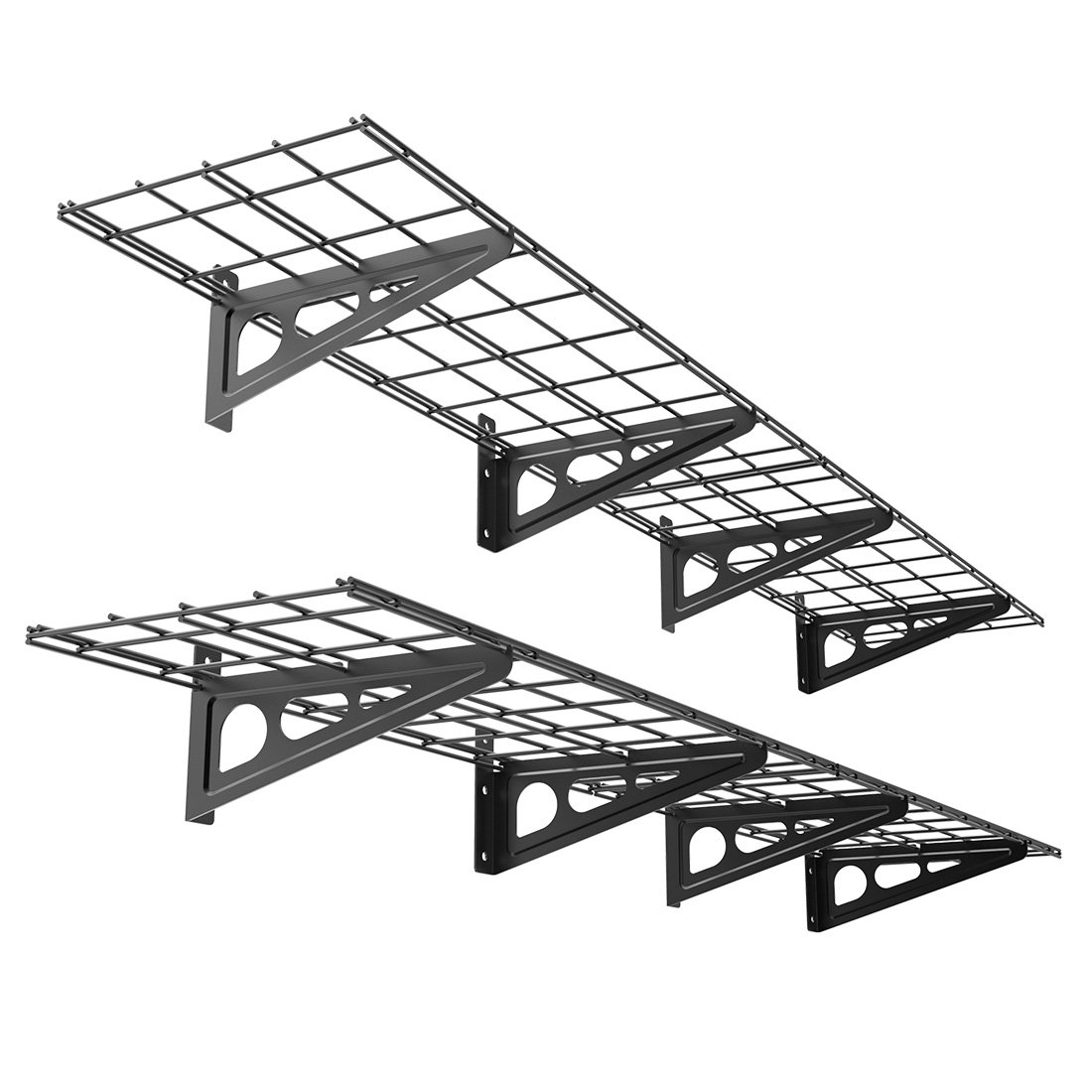 FLEXIMOUNTS 1' x 6' Black 2-Pack 1x6ft 12-inch-by-72-inch Wall Shelf Garage Storage Rack, 1x6 ft, by FLEXIMOUNTS
