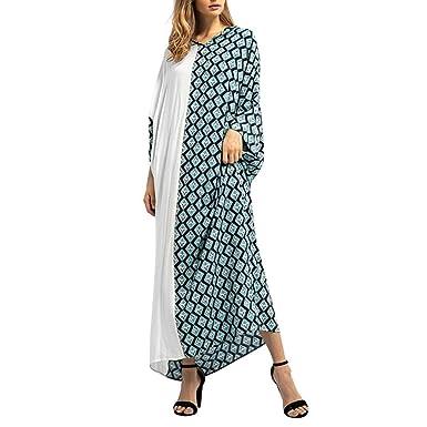 Longra Damen Kariertes Kleider Langes Kleid Boho Maxikleider Islamischen  Muslimischen Kleider Nahen Osten Maxi Robe Kleider 25fb501e86