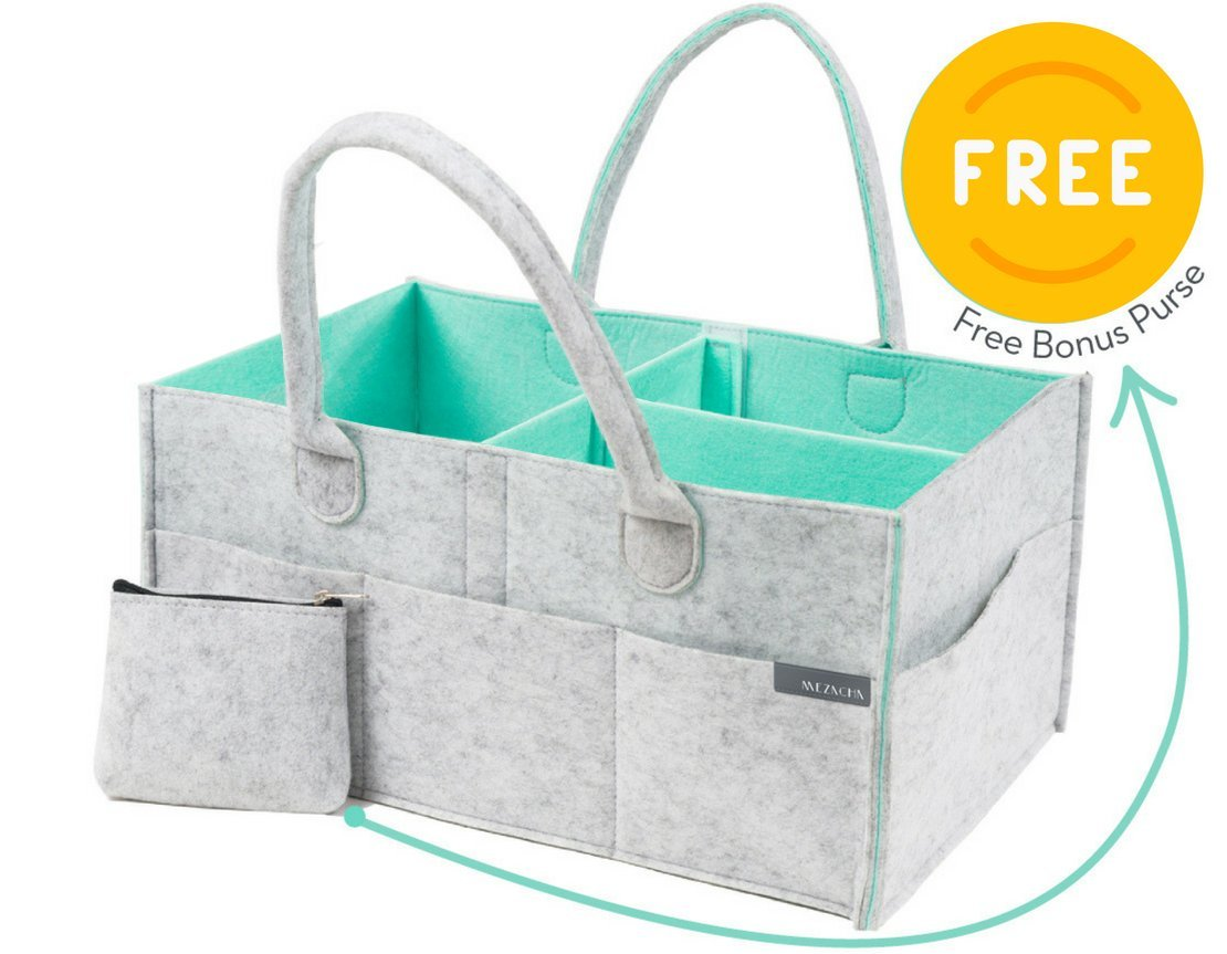 Baby Nappy Caddy Organiser Plus Free Purse - Nursery Storage Bin | Baby Shower Gift Basket, Newborn Registry, Nursery Organiser Basket for Boy Girl, Large Travel Car Organiser MEZACHA