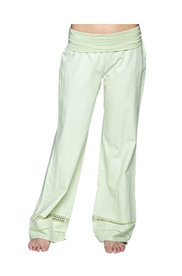 399b34f9a58 2LUV Women s Wide Leg Linen Pants W  Fold Over Waistband Sage S (93300) at Amazon  Women s Clothing store