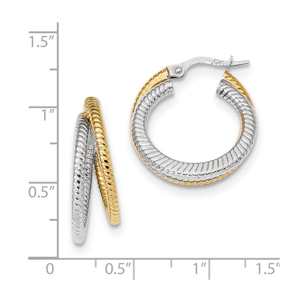 Mia Diamonds 14k Gold Two-tone Polished Textured Double Round Hoop Earrings