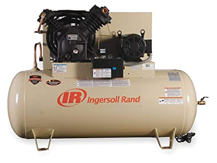 Image Unavailable. Image not available for. Color: Ingersoll-Rand 3 Phase Horizontal Tank Mounted 10HP Electric Air Compressor ...