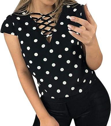 FELZ Camiseta Mujer Manga Corta Camisa Estampada Lunares Sexy Casual Blusa Slim Fit Cuello En V Blusas de Mujer Elegantes de Fiesta Casual T-Shirt Original tee: Amazon.es: Ropa y accesorios