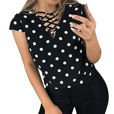 FELZ Camiseta Mujer Manga Corta Camisa Estampada Lunares ...