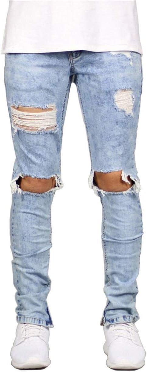 メンズテーパードスキニーフィットストレッチデニムジップジーンズ鉛筆パンツ小足パンツ,ブルー,XXXL