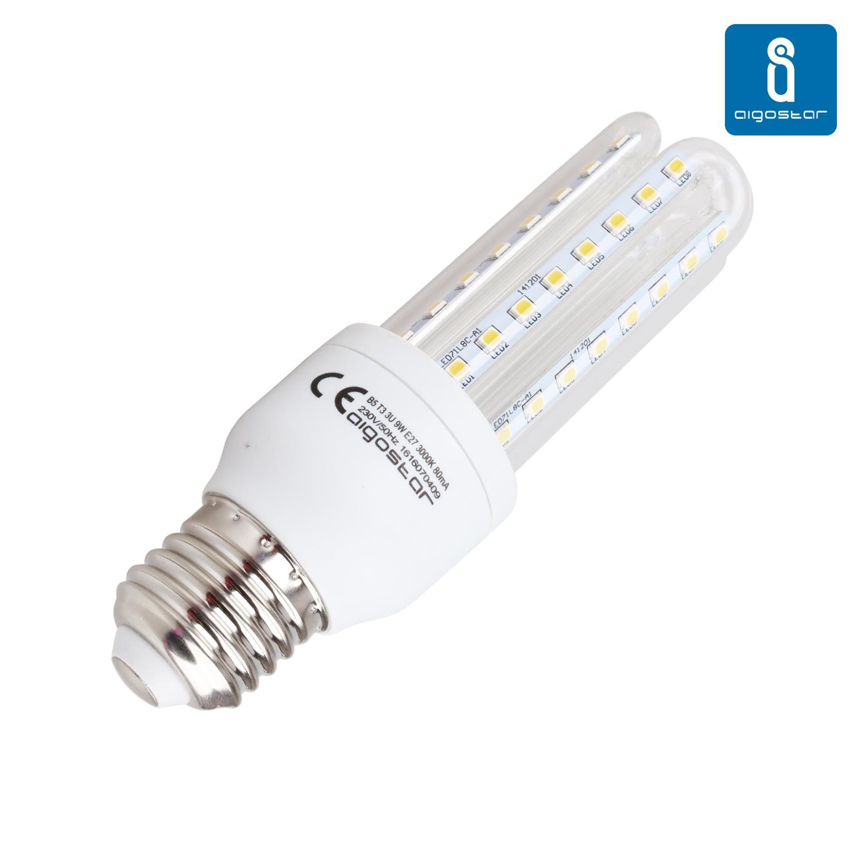 Aigostar 176112, Bombilla LED T3 3U de 9W, rosca grande y luz ...