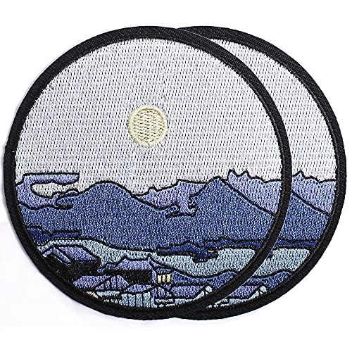 Harsgs Silent Town Under Moon Patch Embroidered Applique Badge Iron on /Sew on Patches Emblem Patch DIY Accessories, Perfect for Clothes, Dress, Hat, Jeans, Pack of 2