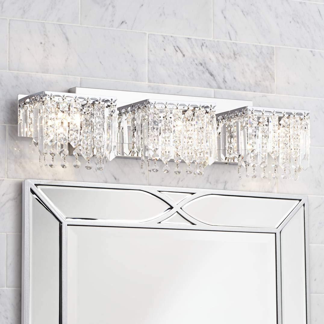 "Possini Euro Crystal Strand 25 3/4"" Wide Chrome Bath Light"