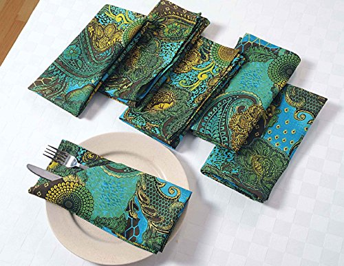 Colorful Paisley Cotton Dinner Napkins - 20'' x 20'' - Set of 24 Premium Table Linens for the Dining Room - Turquoise, Gold, Green and Chocolate by ShalinIndia
