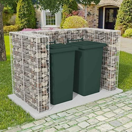 Festnight Gabione Mülltonnenbox Mülltonnenverkleidung für 2 Mülltonnen U-förmig 180 x 100 x 120 cm Stahl