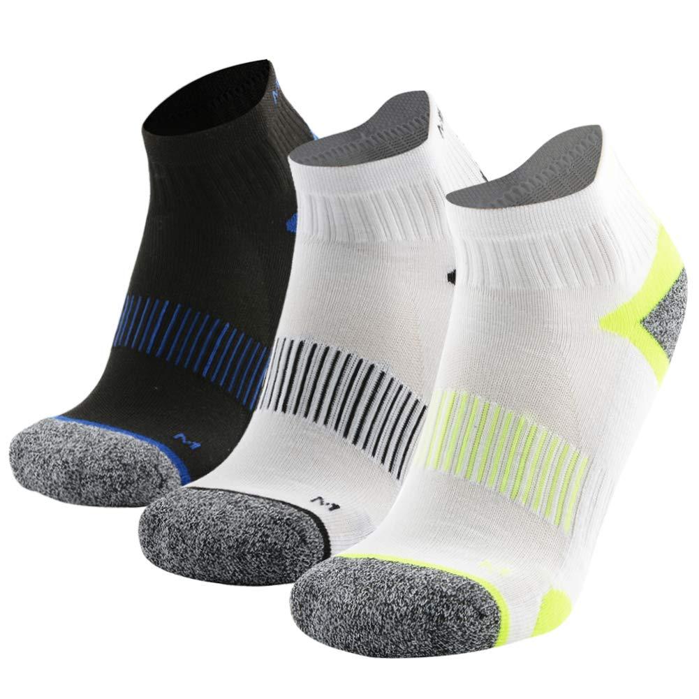 MEIKAN Mens Hiking Socks, Micro Crew Half Thickness Cushion Running Sports Performance Summer 3 Pairs (Multicolor, Large)