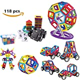 118 PCS Magnetic Building Blocks Set Magnetic Tiles Kit Construction & Stacking Toys Boys Girls Easter Present for Children Educational and Creative Imagination Development with Storage Container