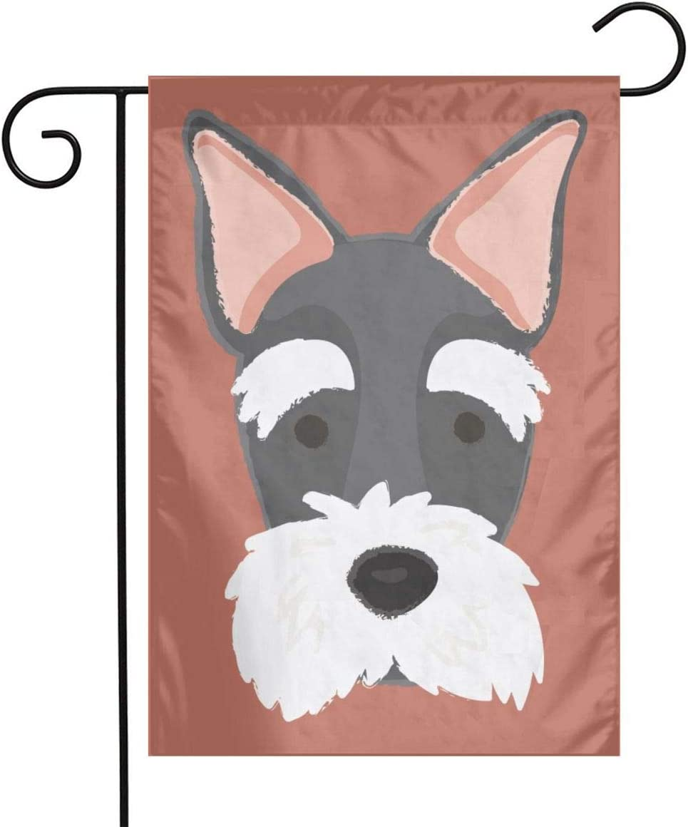 Cartoon Schnauzer Garden Flags Home Indoor & Outdoor Holiday Decorations,Waterproof Polyester Yard Decorative for Game Family Party Banner
