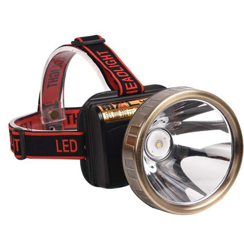 Liul Scheinwerfer-Licht Super Helle Langfristige Wasserdichte Jagd Mit Batterieanzeige Angeln Camping Radfahren Tragbar,Gelblight