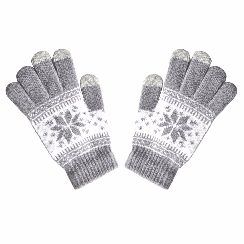 Active Smart Phone Knit Soft Screen Gloves,Alalaso Fashion Men Women Winte Texting Cap Mittens(Gray)