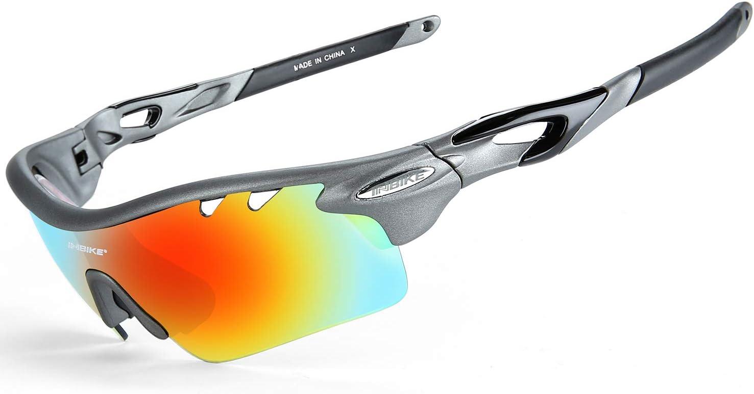 INBIKE Gafas De Sol Polarizadas para Ciclismo con 5 Lentes Intercambiables UV400 Y Montura De TR-90, Gafas para MTB Bicicleta Montaña 100% De Protección UV