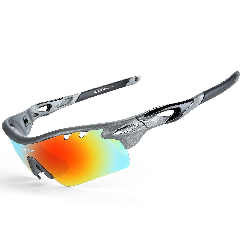 793f7ffa6f Inbike Occhiali Ciclismo Polarizzati Anti-UV con 5 Lenti intercambiabili  Leggero Resistente(Grigio)