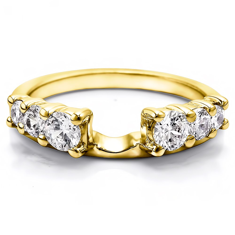 Solitaire Ring Wrap Enhancer set in Yellow Gold set with Diamond(0.5Ct)Size 3 To 15 in 1/4 Size Interval
