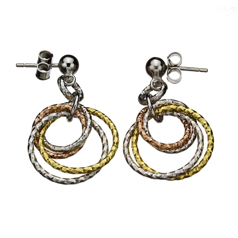 Sterling Silver Tri-color Rings Diamond-Cut Ball Nickel Free Earrings Italy Joyful Creations jc-e1463
