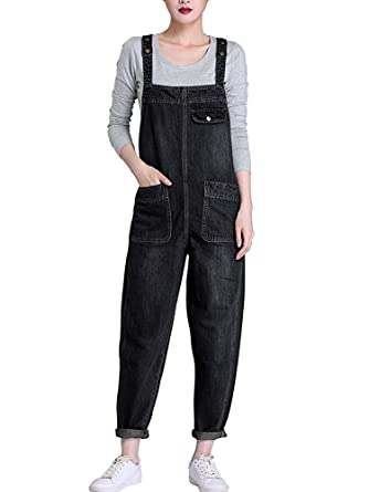 fa1217c75833 Sobrisah Women s Casual Baggy Fit Denim Bib Cropped Harem Romper Jumpsuit  Pants Overalls Trousers with Pockets