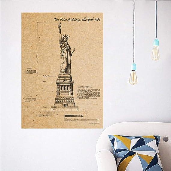TXX Tatuajes de pared Estatua de la libertad Cartel de papel Kraft ...