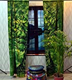 GDONLINE Panther Green Tree of Life Curtain Handmade Mandala Curtains Tapestry Drapes & Valances Window Treatment Curtains Handmade Cotton Window Door Curtains 82X52 Inch