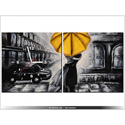 Art-Gallery XXL – 80 x 40 cm – enamorados y paraguas – Reloj de