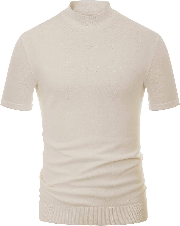 1960s Mens Shirts   60s Mod Shirts, Hippie Shirts PJ PAUL JONES Mens Mock Turtleneck Knit Pullover Sweater Short Sleeve Solid Knitwear Sweaters  AT vintagedancer.com