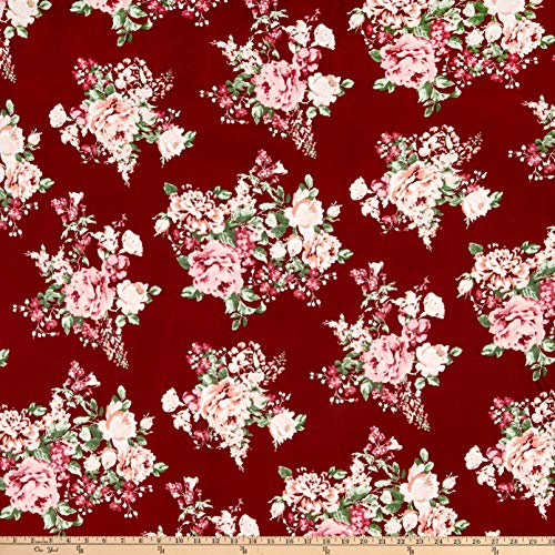 Fabric Floral Rose (Fabric Double Brushed Poly Jersey Knit Floral Bouquet Burgundy/Rose Fabric by the Yard)