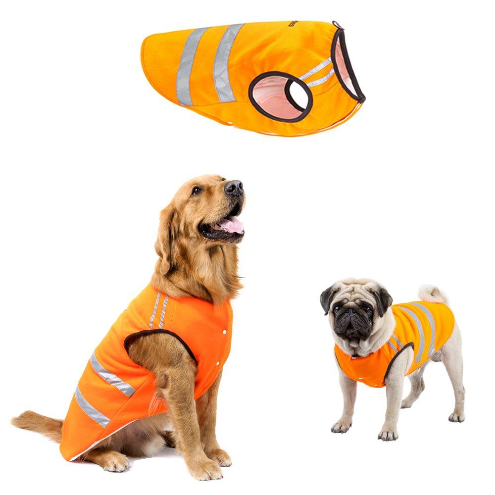 Alamp haute visibilité Chien réfléchissant chaud Gilet de vêtements, DE Petite Extra Large Chien de sécurité vestes Orange