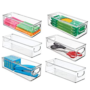 "mDesign Plastic Stackable Home Office Storage Organizer Container with Handles for Cabinets, Drawers, Desks, Workspace - BPA Free - for Pens, Pencils, Highlighters, Tape - 10"" Long, 6 Pack - Clear"