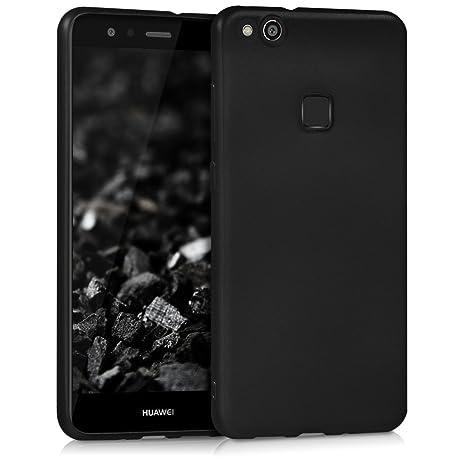 kwmobile Funda para Huawei P10 Lite - Carcasa para móvil en [TPU Silicona] - Protector [Trasero] en [Negro Metalizado]