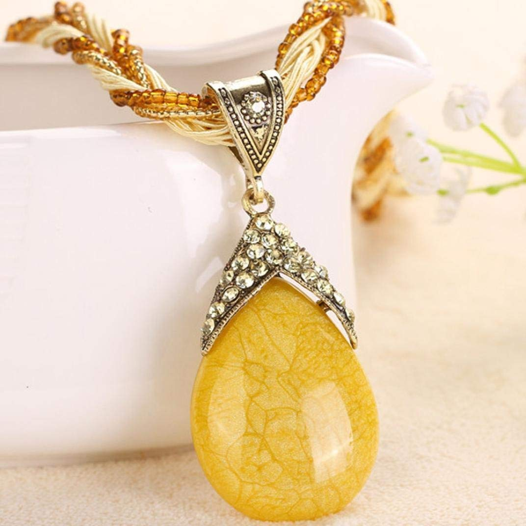 WYTong Women Rhinestone Amber Gem Jewelry Necklaces Bohemian Pendant Collar Necklace Clearance!