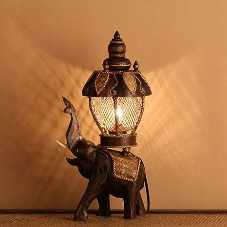 QPGGP-Lampara de mesa Thai talla elefante lampara decorativa ...