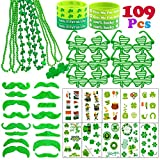 109 Pcs St.Patrick's Day Accessories Party Favor Set Saint Patricks Day Include Irish Shamrock Necklaces, rubber Bracelets, Sunglasses, Green Mustache, Temporary Tattoo