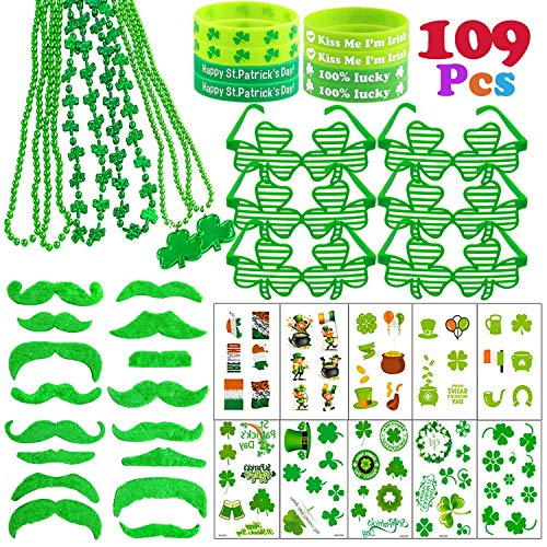 109 Pcs St.Patrick's Day Accessories Party Favor Set Saint Patricks Day Include Irish Shamrock Necklaces, rubber Bracelets, Sunglasses, Green Mustache, Temporary Tattoo -