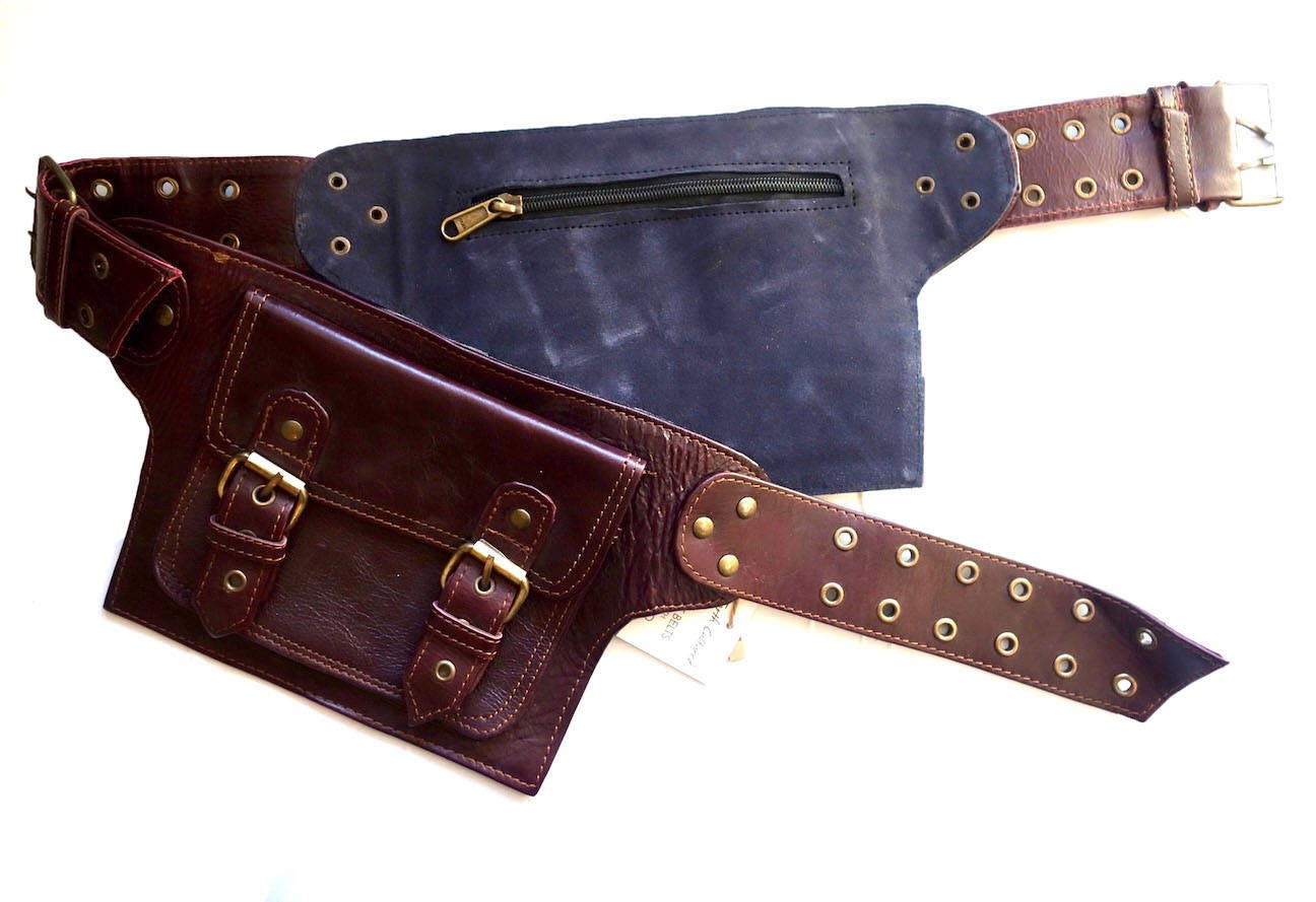 Leather Utility Belt   Adjustable, 4 Pocket   Saddle   Leather Utility Belt   Adjustable Saddle, 4 Pocket   festival, cosplay, fits phone (Maroon)