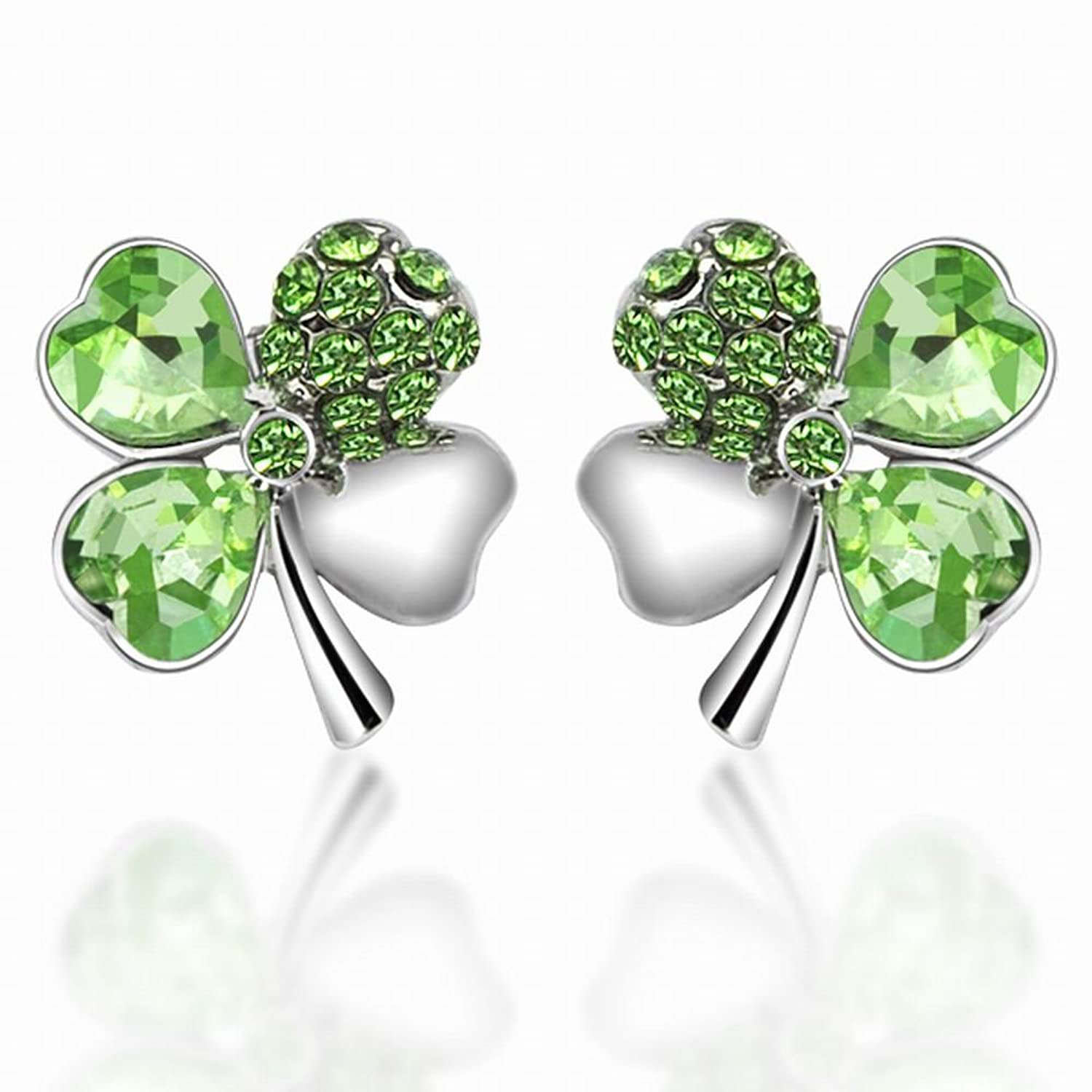 Green lucky shamrock necklace four leaf clover charm emerald green - Amazon Com World Pride Lucky Crystal Four Leaf Clover Stud Earrings Jewelry