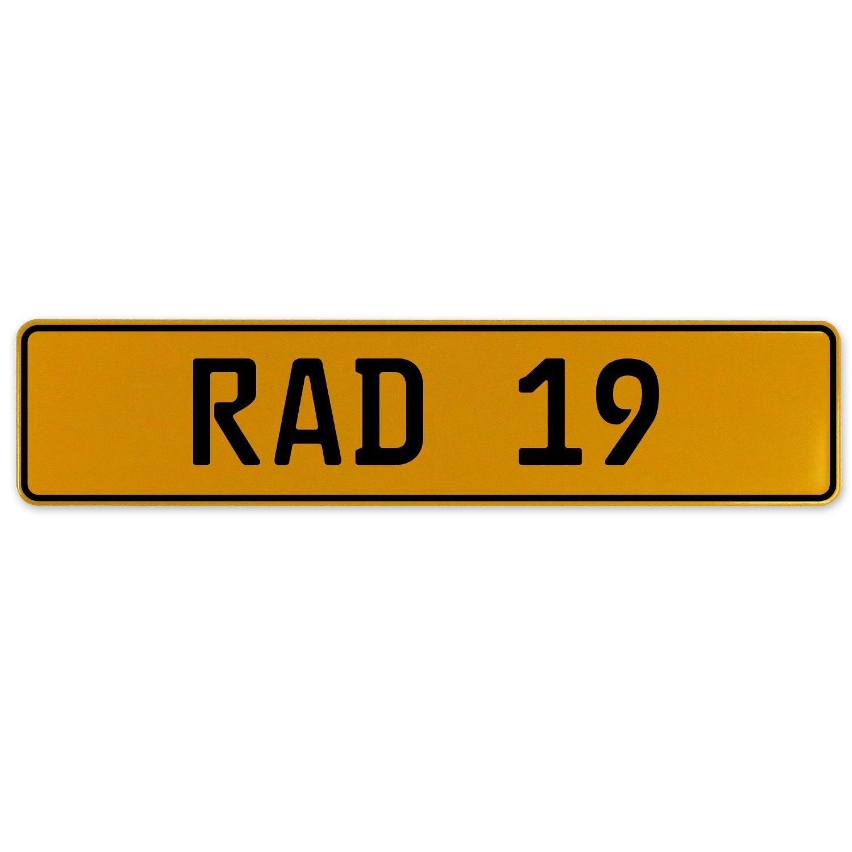 RAD 19 Vintage Parts 558972 Yellow Stamped Aluminum European Plate