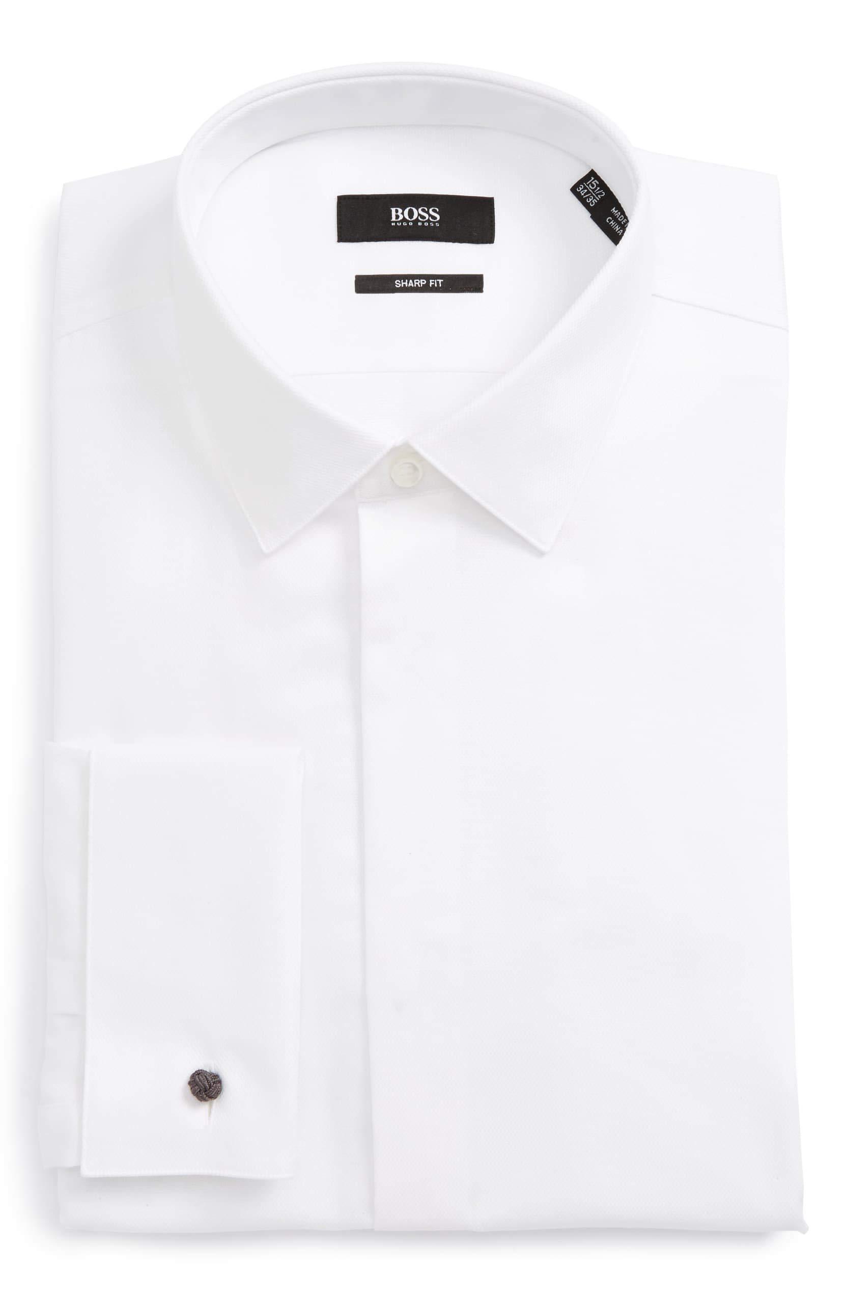 Hugo Boss Men's Myron Sharp Fit Tuxedo Shirt (17.5 x 34/35, White) by Hugo Boss