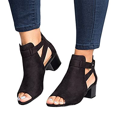 31f20b74552 Amazon.com  Seraih Womens Open Toe Sandals Cut Out Ankle Buckle Shoes Peep  Toe Flats  Clothing