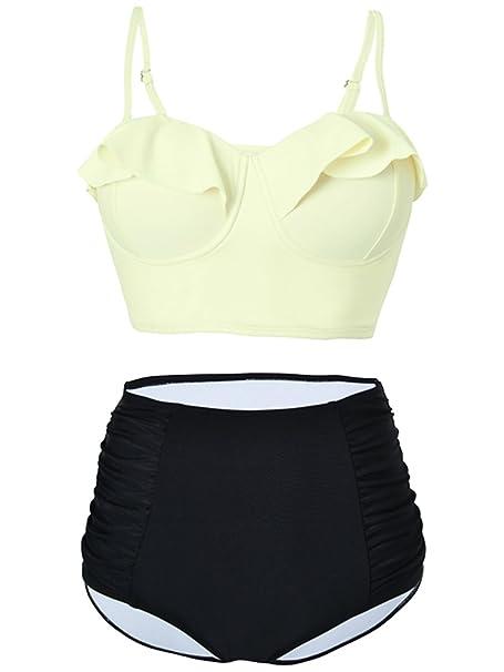 136d7f8182 Amazon.com  American Trends Womens High Waisted Vintage Cute Flounced  Midkini Swimsuit Push Up Highline Bikini Bathing Suit  Clothing