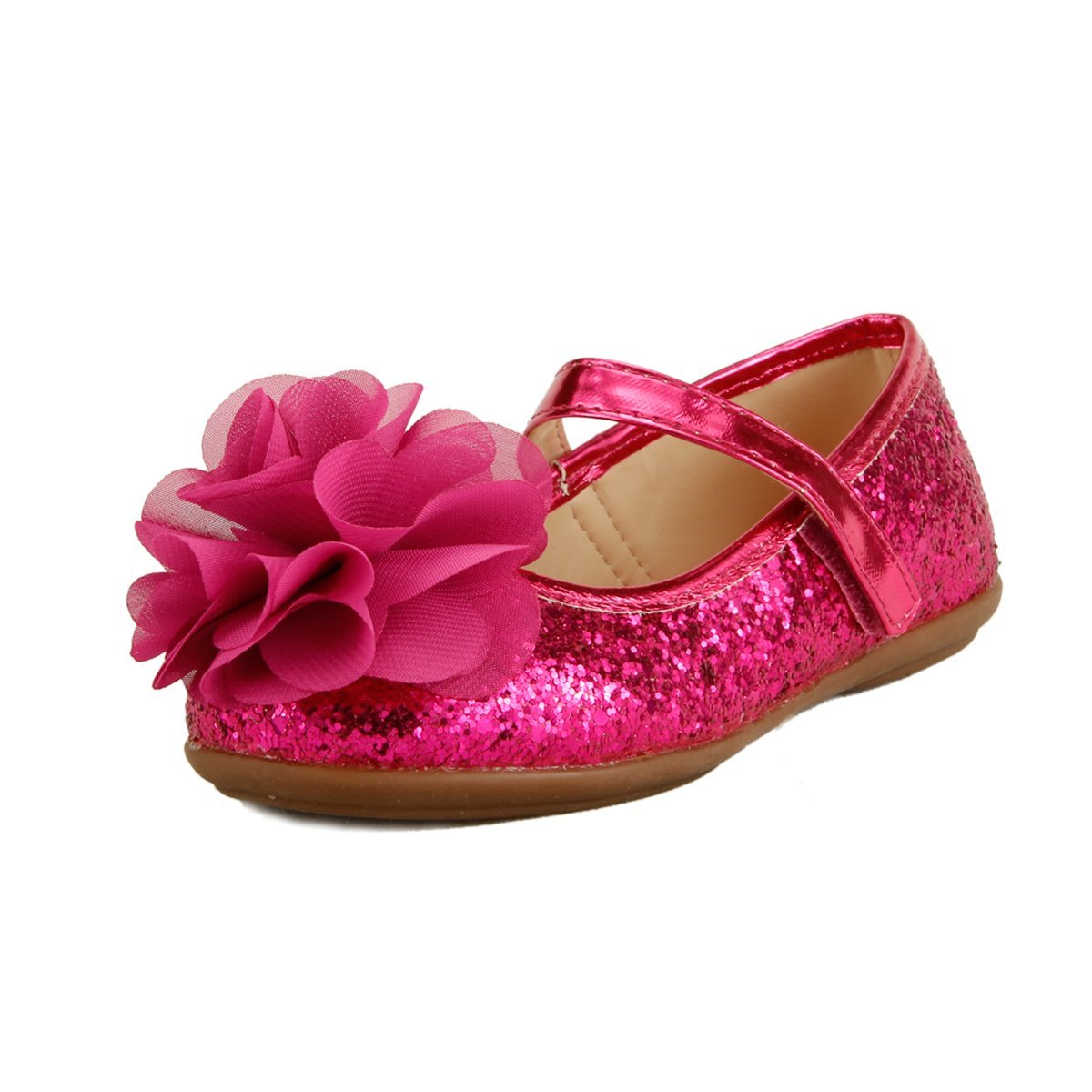 Wedding Party Flower Girl's Shoes Glitter Sparkling Chiffon Floral on Topper 3 Colors (13, Hot Pink)